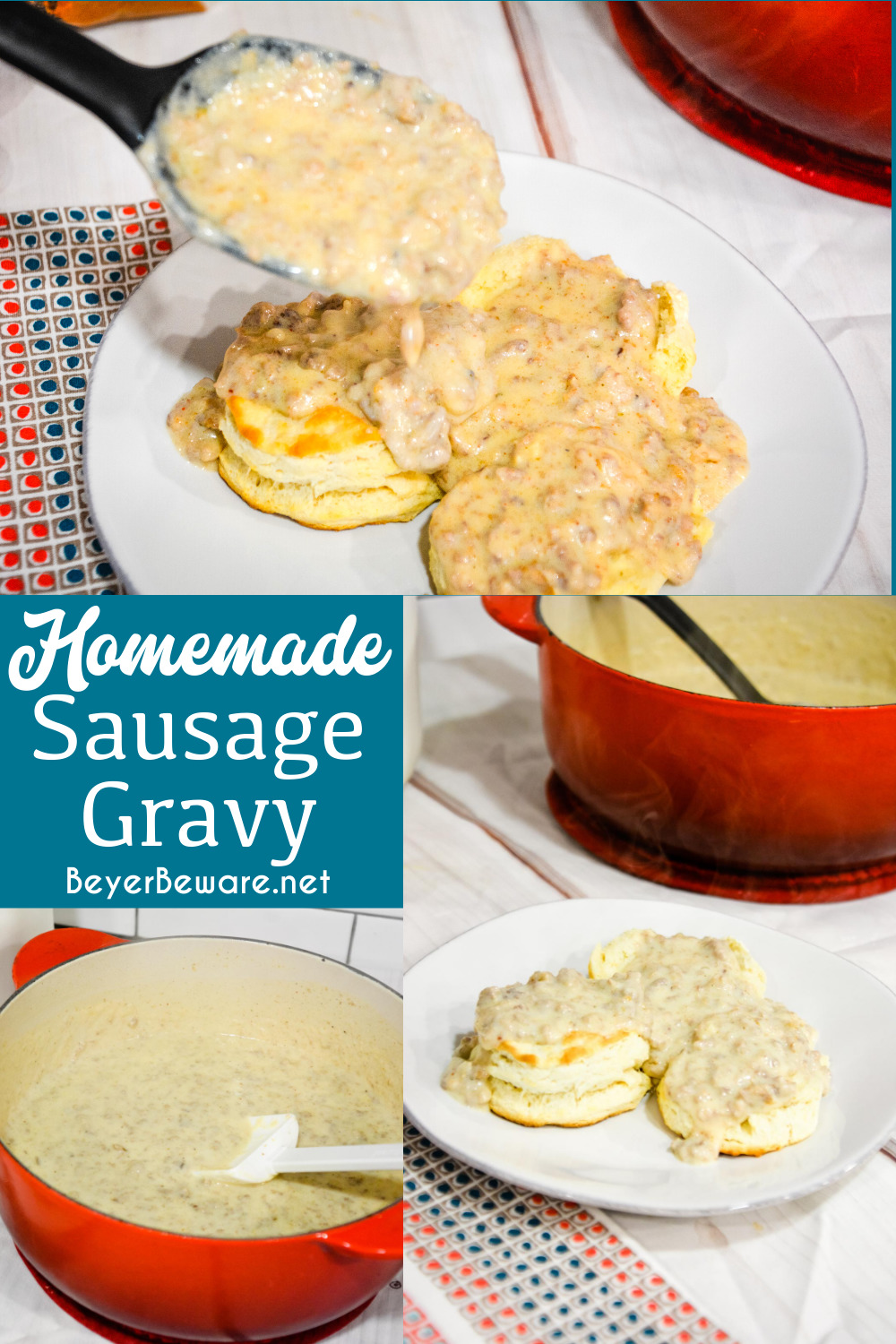 Homemade sausage gravy is a simple white gravy with breakfast sausage recipe perfect for easy biscuits and gravy breakfast made regularly for breakfast since it is so easy to make.
