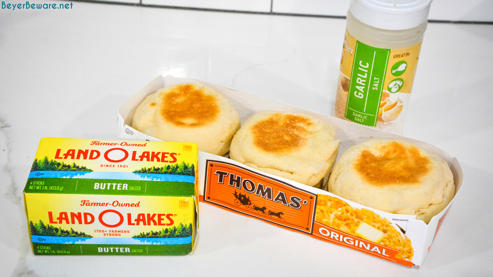 English Muffin Garlic Toast Ingredients - English Muffins, Butter, Garlic Salt