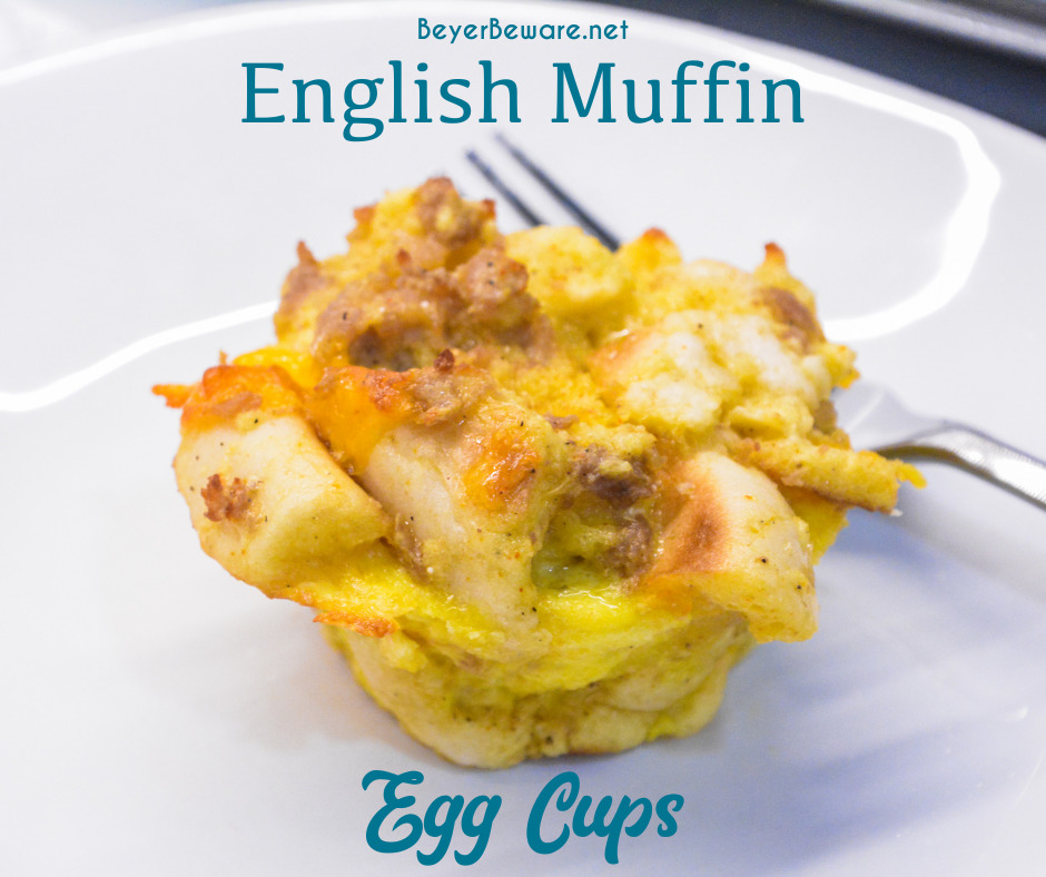 English Muffin Egg Cups are individual egg casseroles made from combining cubed English muffins, breakfast sausage, eggs, and cheese and then ready to eat, freezer, or fridge for quick breakfasts all week long.