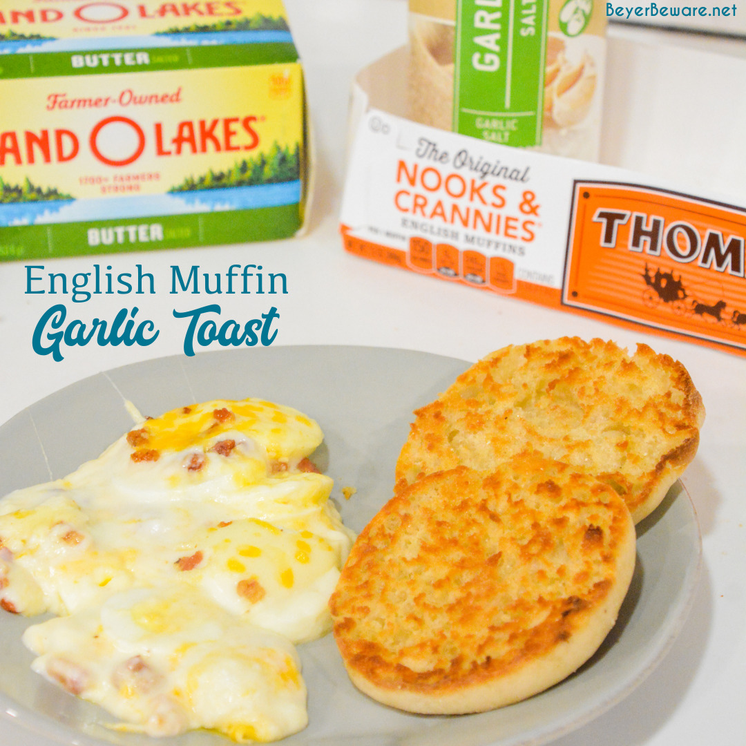 English muffin garlic toast is a crusty, buttery 3-ingredient easy homemade garlic bread that will shock people by how surprisingly good it is.