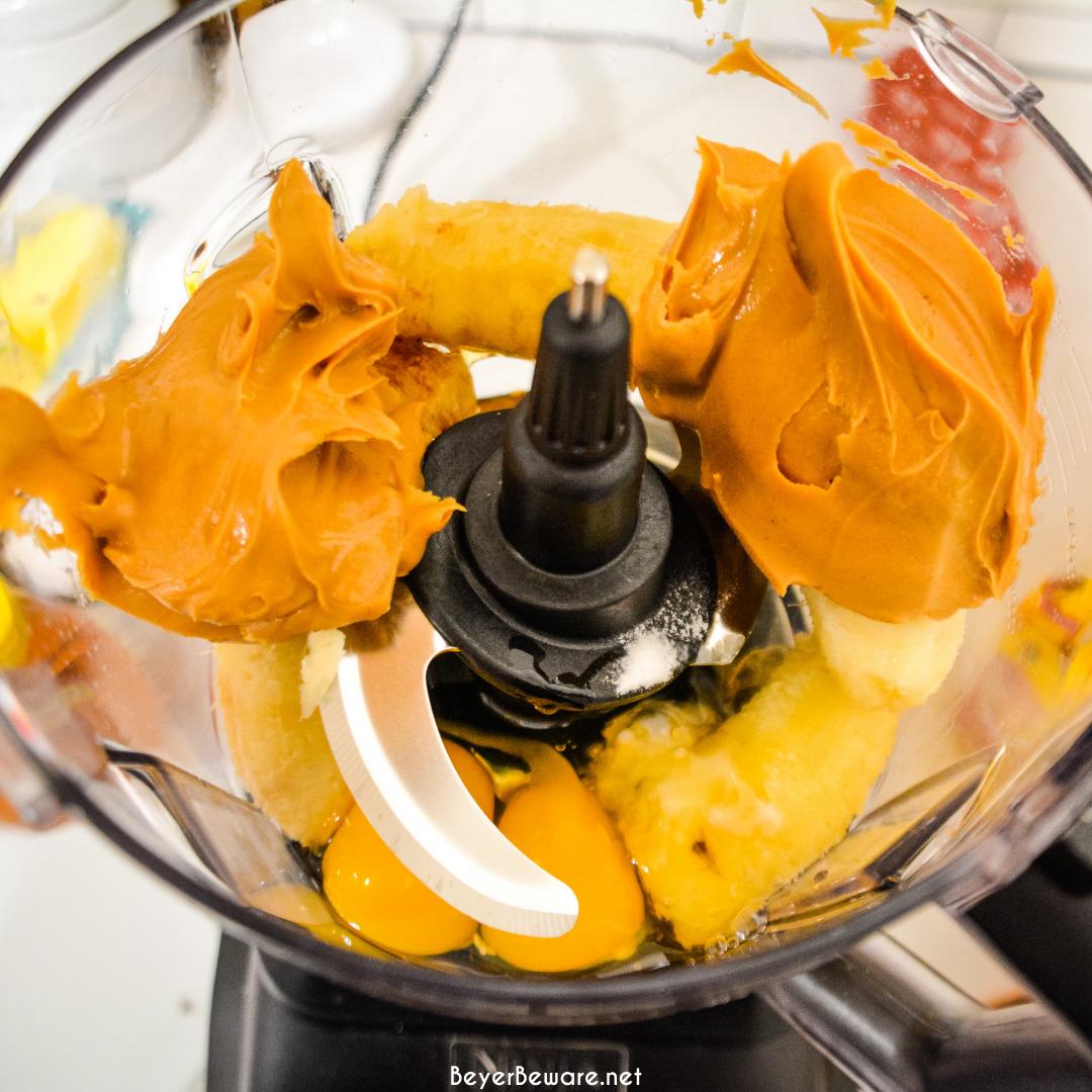 blender muffin ingredients in the blender bowl