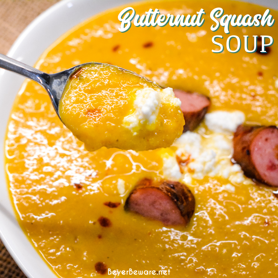 Butternut squash soup with smoked sausage is a savory, creamy roasted butternut squash soup with hints of chili, sage, onion and feta for a delish fall soup.