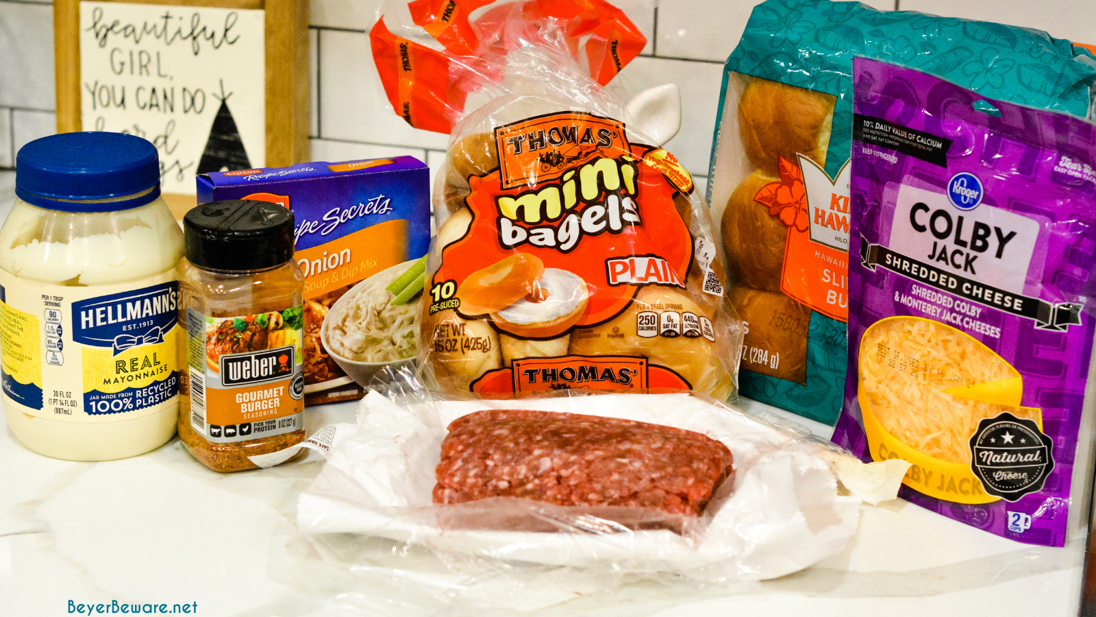 Hawaiian Roll Hamburger Slider Ingredients.