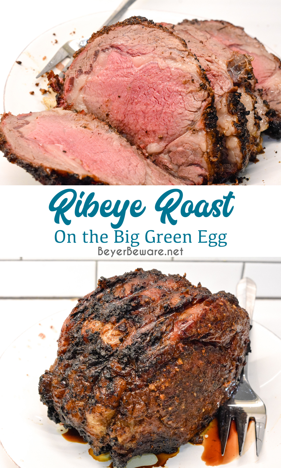 Knowing how to make a ribeye roast can mean a perfect beef holiday dinner entree that is perfectly cooked to a medium rare with a garlic and pepper crust all done on the Big Green Egg grill or the oven.