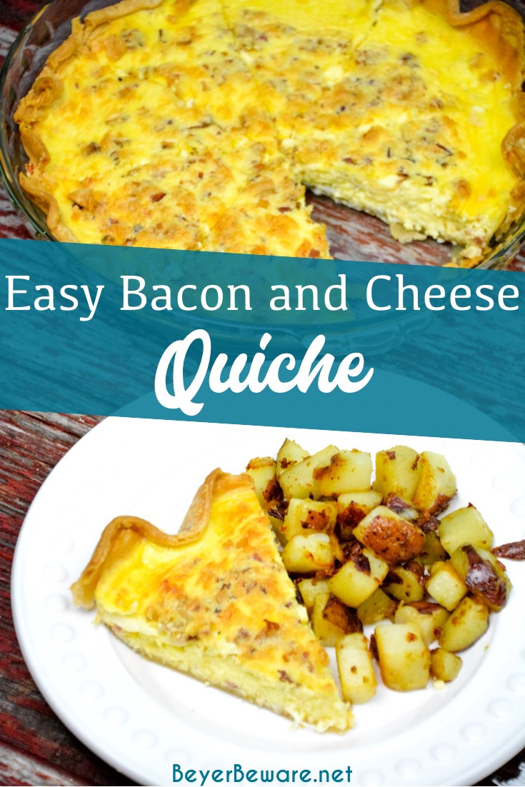 Easy bacon and cheese quiche is made quickly in a blender and poured into a store-bought pie crust that has been filled with bacon and shredded cheese for a velvety smooth quiche. After baking, this quiche can be enjoyed or popped in the freezer for use at a later date.