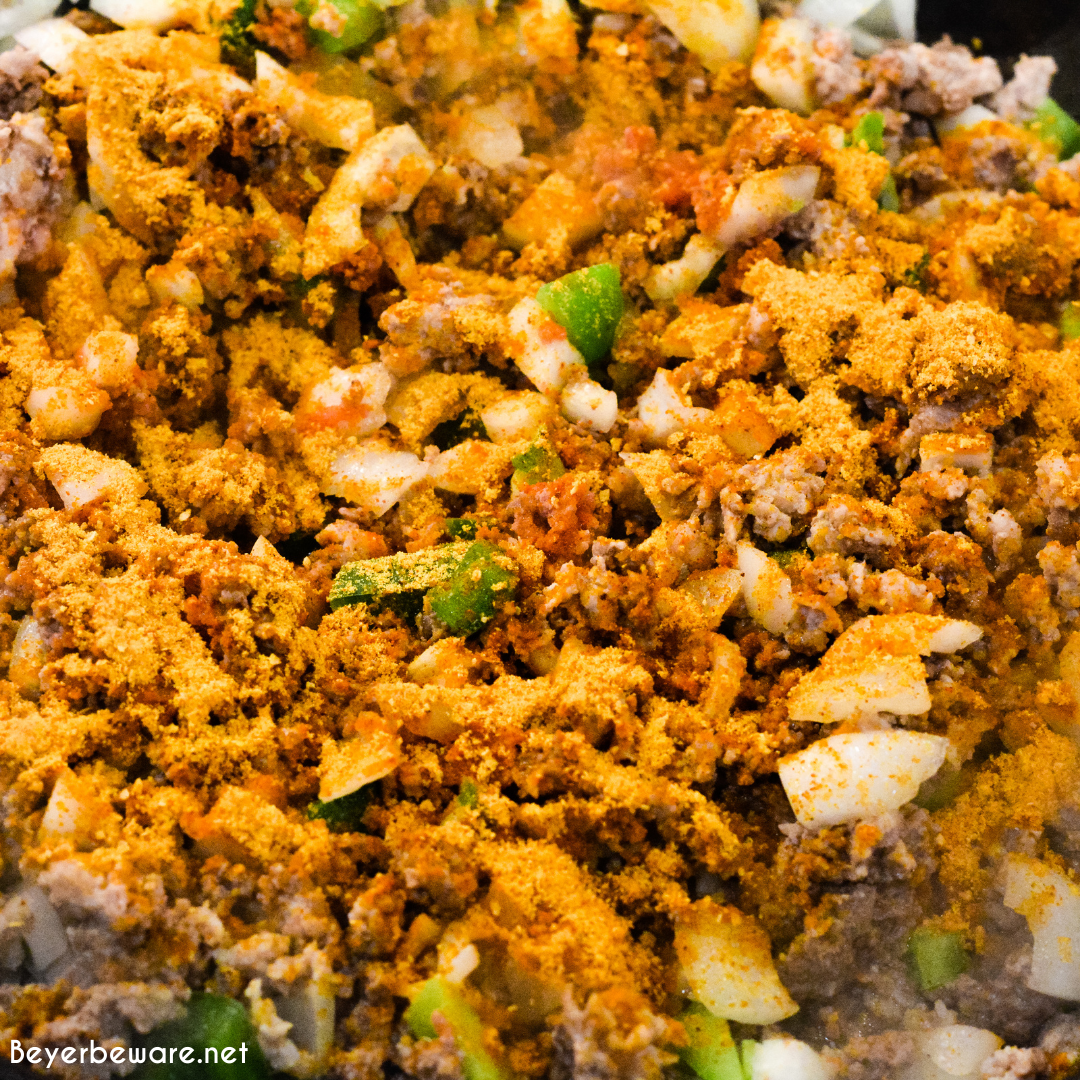 Taco Shepherd's Pie is an easy taco casserole made with leftover mashed potatoes, ground beef, corn, cheese, and peppers in the crock pot or oven.