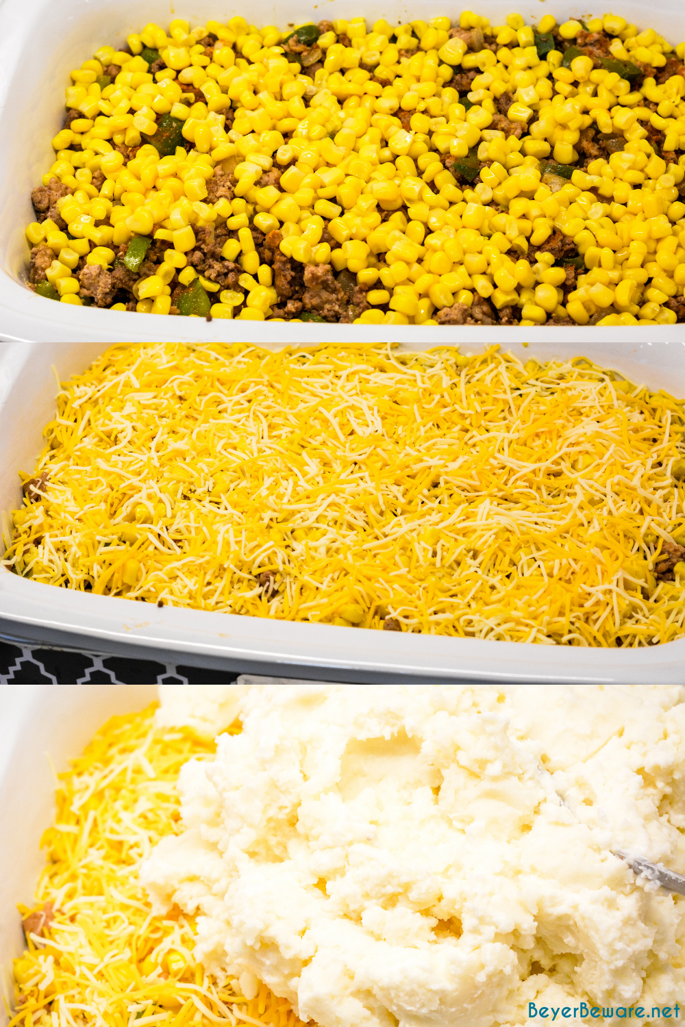 Taco Shepherd's Pie is an easy taco casserole made with leftover mashed potatoes, ground beef, corn, cheese, and peppers for crock pot shepherd's pie.