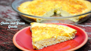 Crustless cheese and bacon quiche is a velvety smooth quiche recipe made quickly in the blender with eggs, cottage cheese, cream and then combined with bacon in a pie pan.