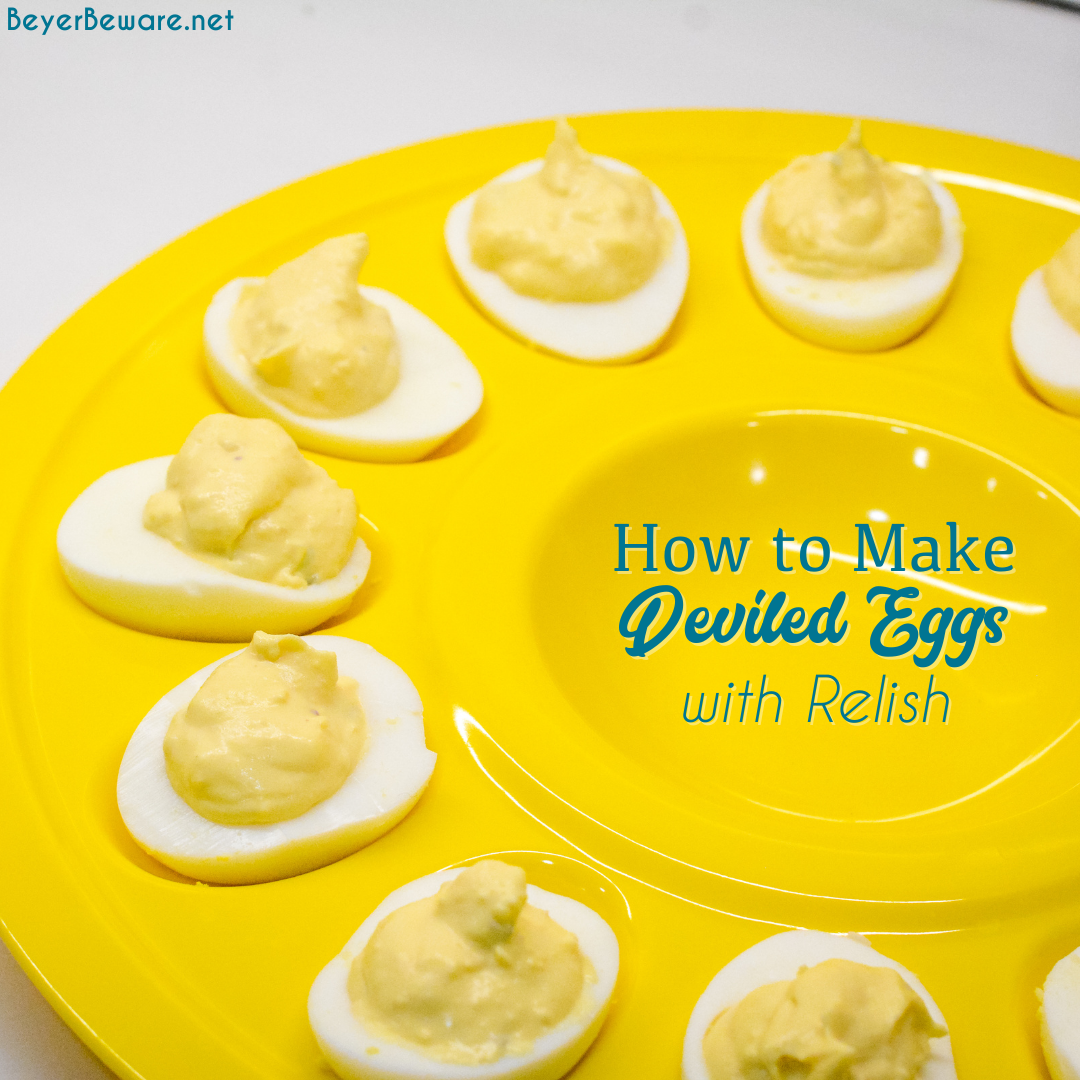 This is an easy deviled egg recipe made with relish, dijon mustard, and mayonnaise.
