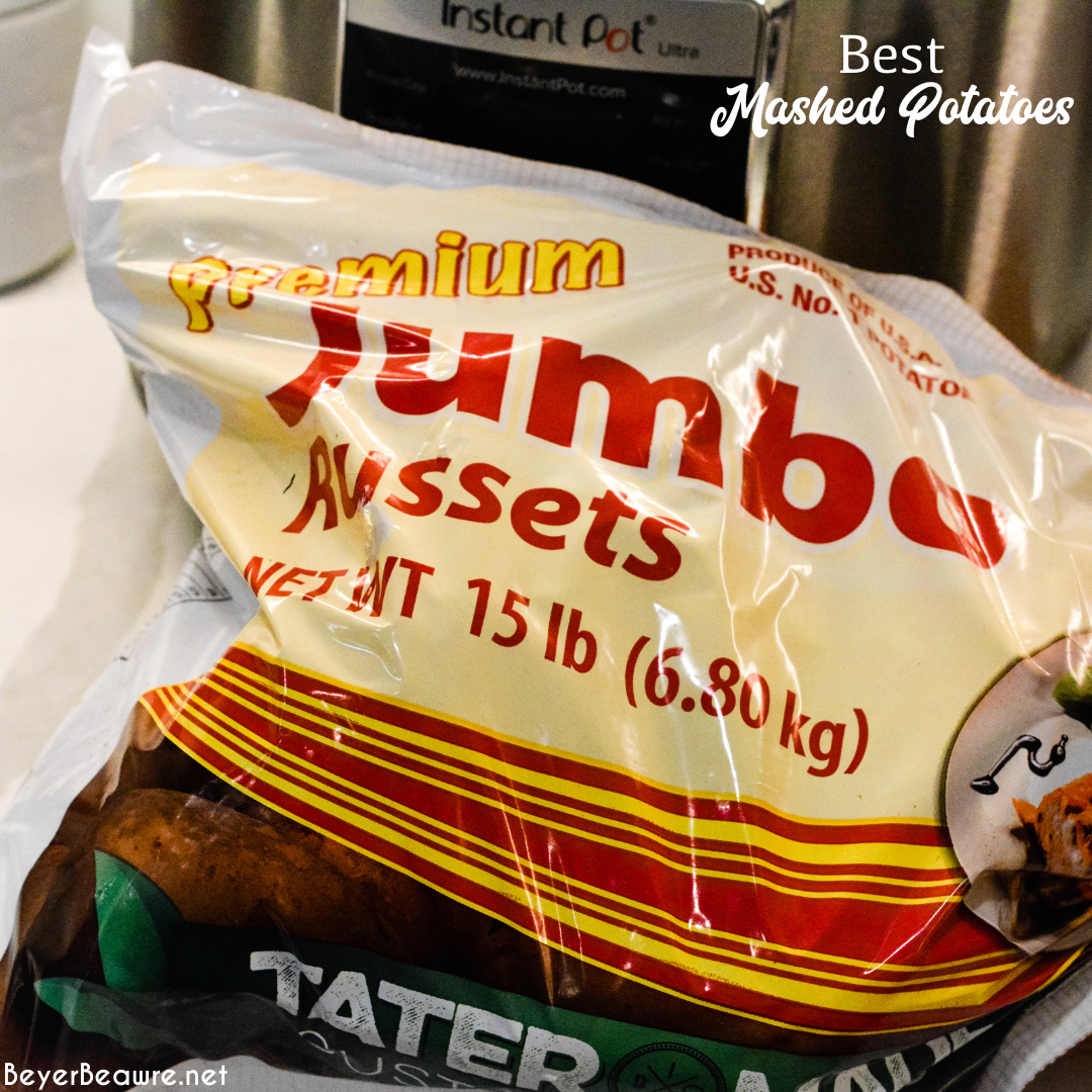 Jumbo Russet potatoes in a bag. The best potatoes for mashed potatoes.
