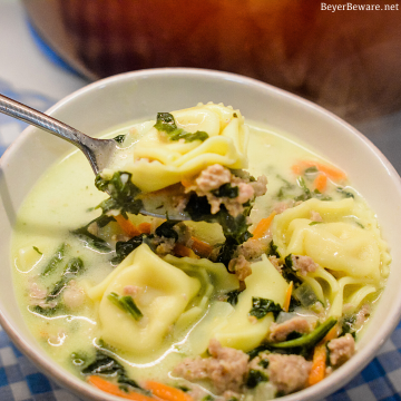 Sausage Tortellini Soup with spinach is a quick soup made on the stove all in one pot for a hearty, creamy soup full of spinach, sausage and cheese tortellini for an Italian sausage tortellini soup.