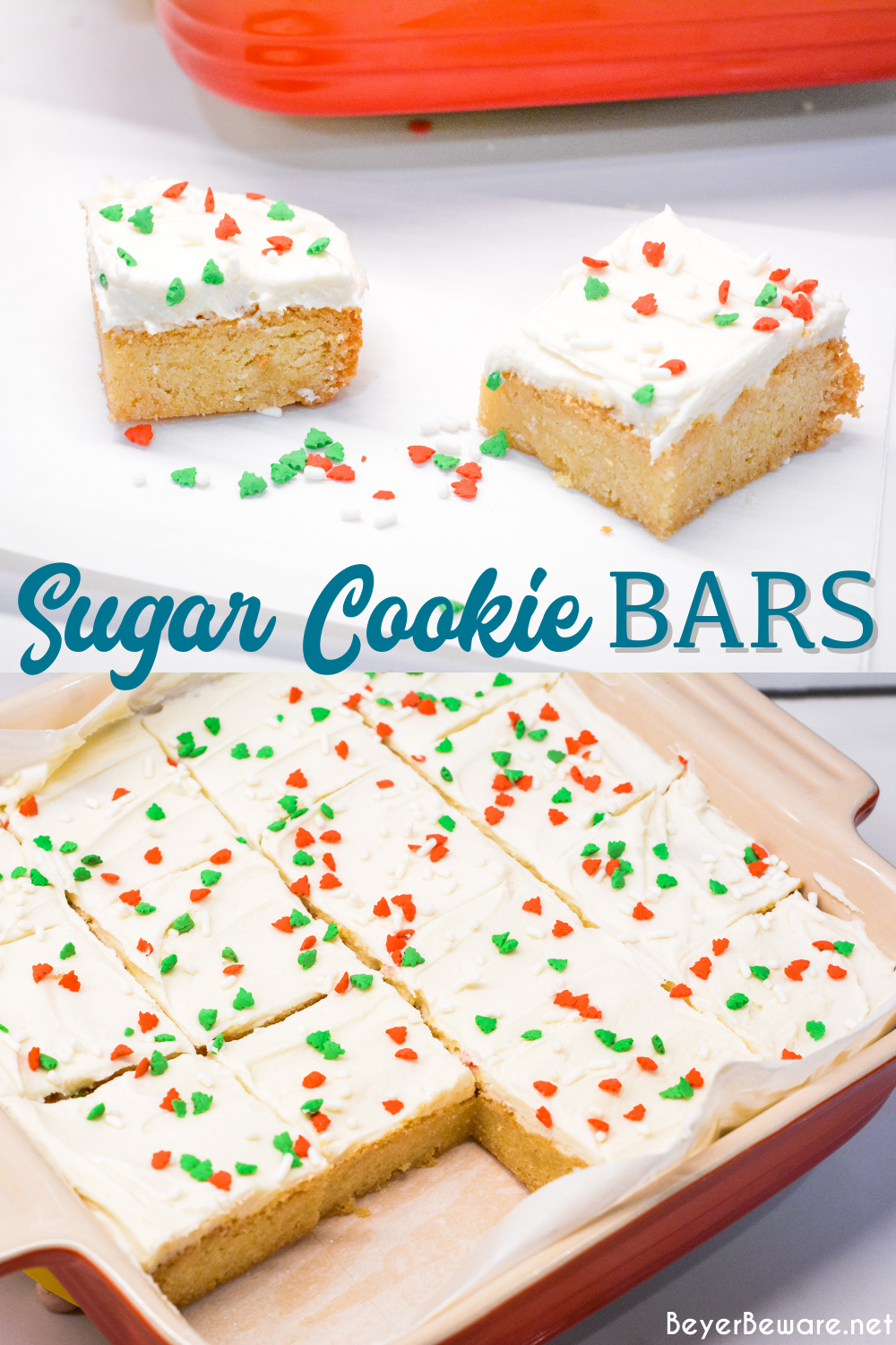 Sugar Cookie Bars are a simple bar cookie made with a package of sugar cookie mix, butter, and eggs topped with a homemade Lofthouse cookie type icing for a quick and simple treat.