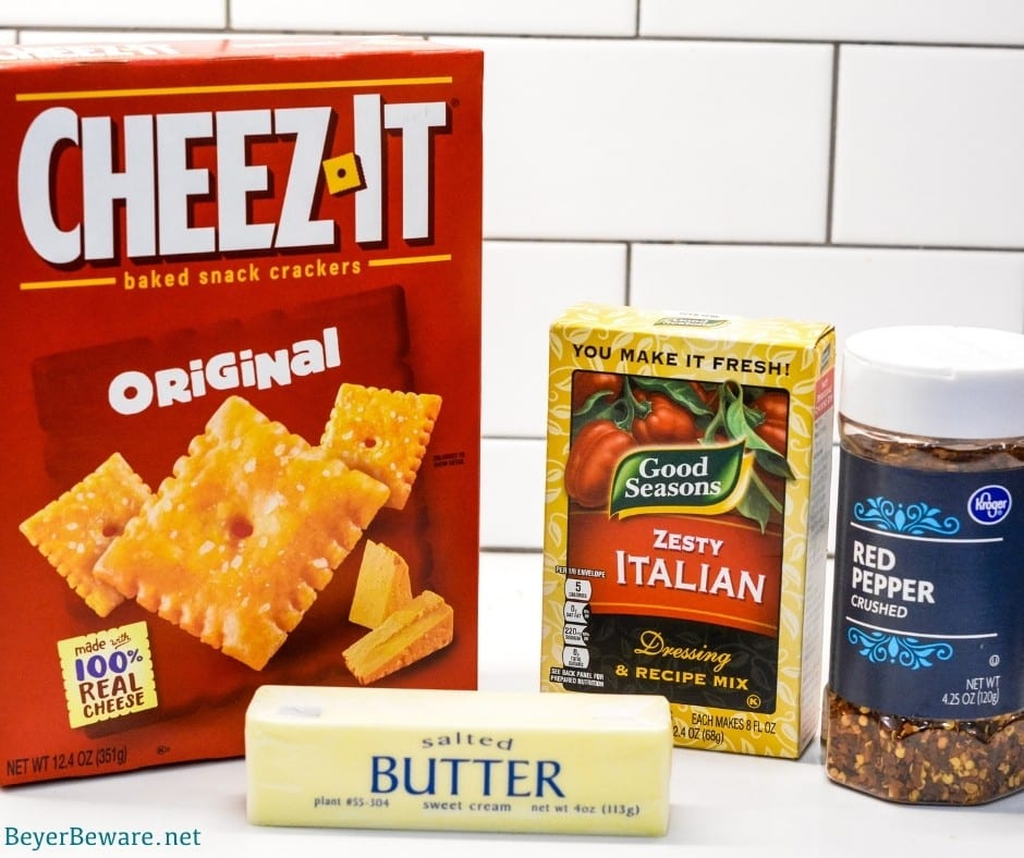 Firecrackers Ingredients - CheezIt crackers, Italian Dressing Seasoning, Butter, Red Pepper Flakes