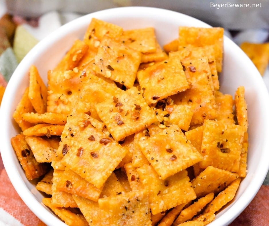 CheezIt firecrackers are your favorite cheese crackers with a buttery Italian seasoning with a little kick from red pepper flakes and baked to crispy crack snacks.