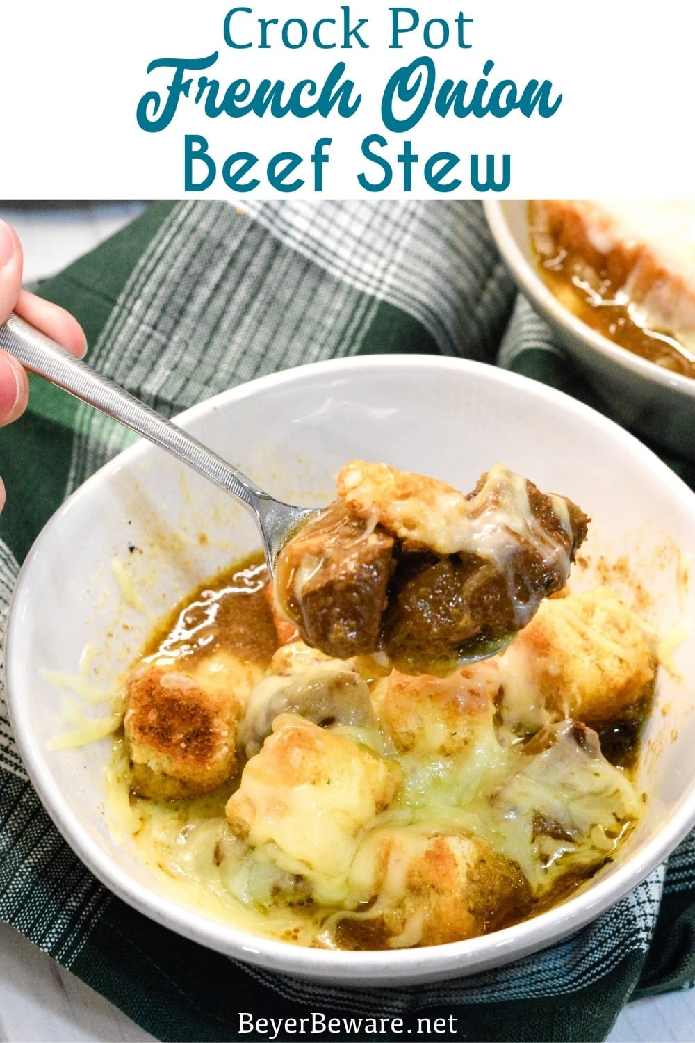 Crock Pot French Onion Beef Stew is a hearty French onion soup recipe that combines the rich flavors from the beef and caramelized onions for a buttery soup topped off with crusty bread or croutons and cheese.