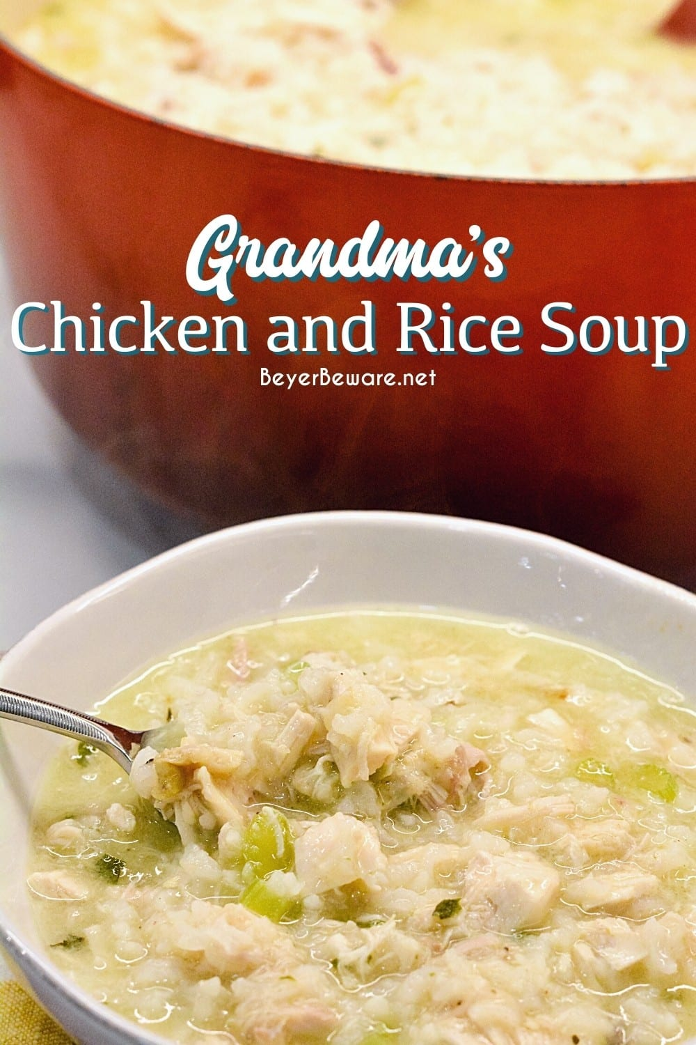 Grandma's chicken and rice soup is made from a whole chicken, onions, celery, and rice with seasonings, butter, and Better than Bouillon for spoonfuls of comfort.