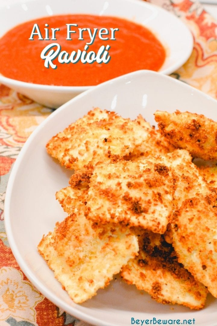 Air Fryer Ravioli is a homemade version of St. Louis style toasted ravioli in the air fryer made with cheese ravioli dipped in an egg wash and then breaded with parmesan cheese and bread crumbs then air fried.