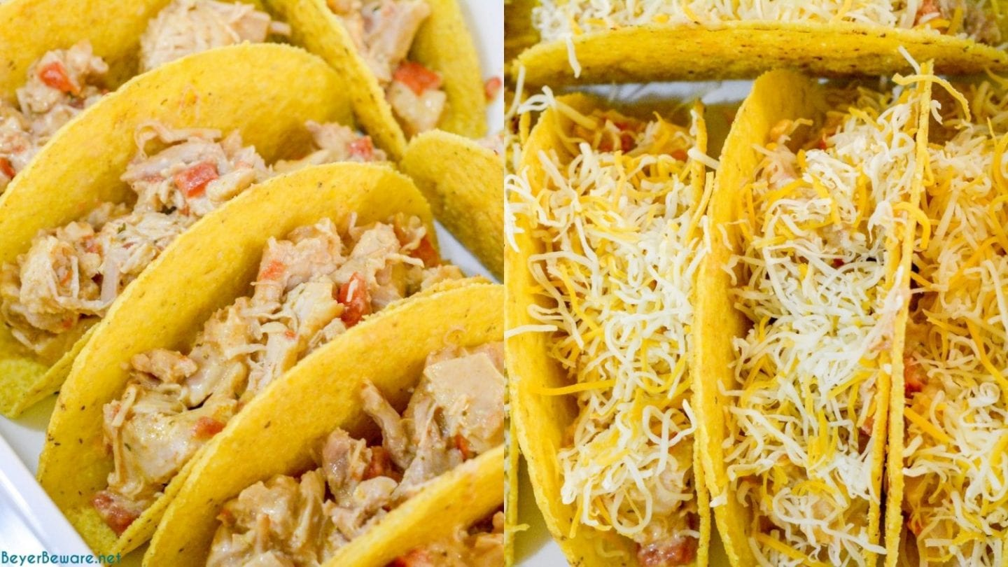 Creamy chicken baked tacos may have just become the best version of baked tacos made quickly with shredded chicken, Rotel, and cream cheese and piled into corn taco shells and baked to cheesy perfection.
