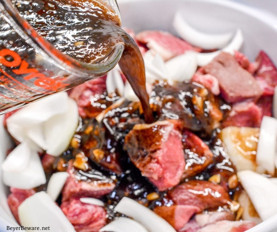 Easy 4 ingredient steak bites marinade recipe