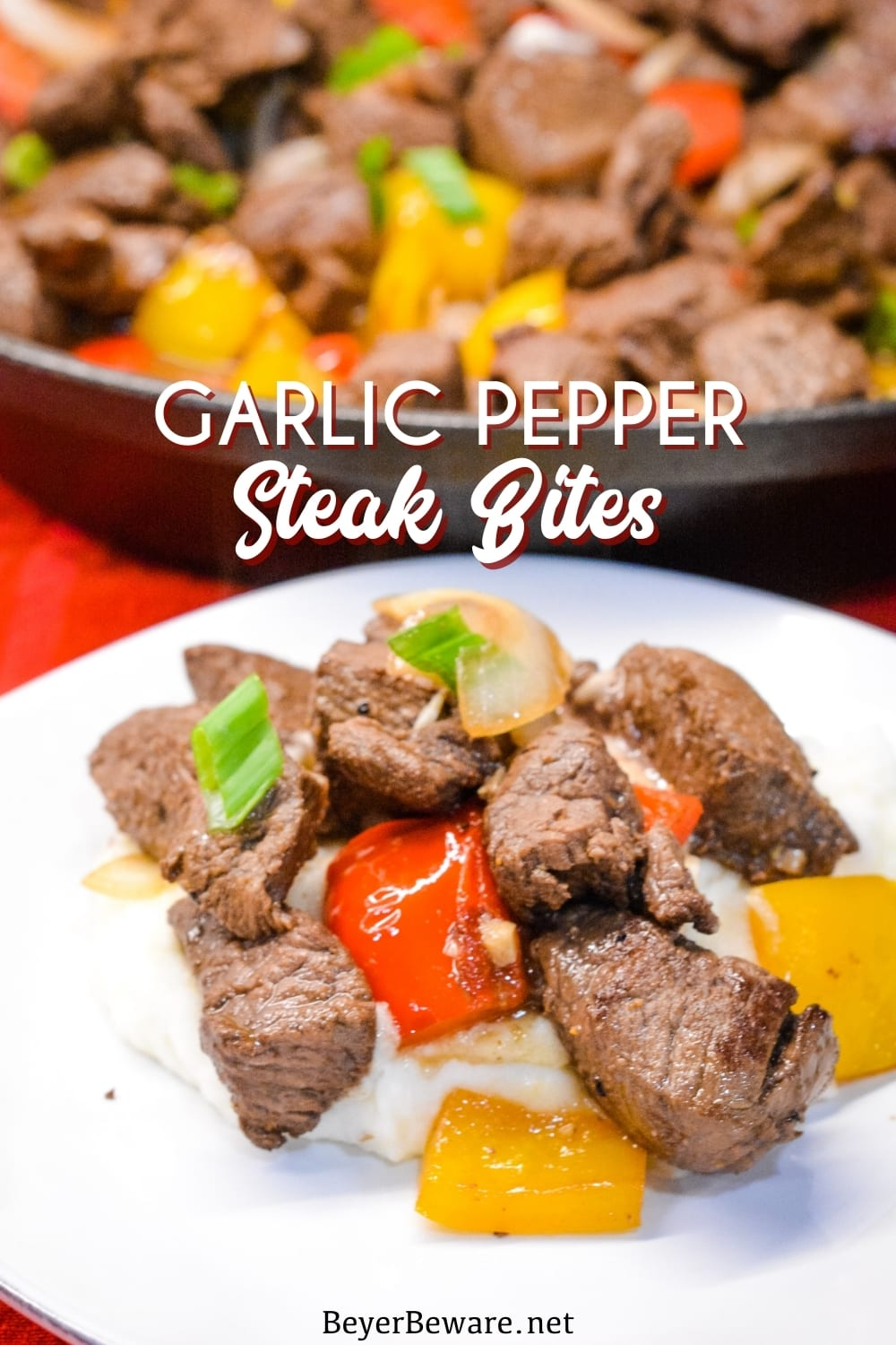 Garlic pepper steak bites recipe is an easy cast iron steak skillet meal made with an easy marinated sirloin steak, garlic, onions, and bell peppers served over mashed potatoes or rice.