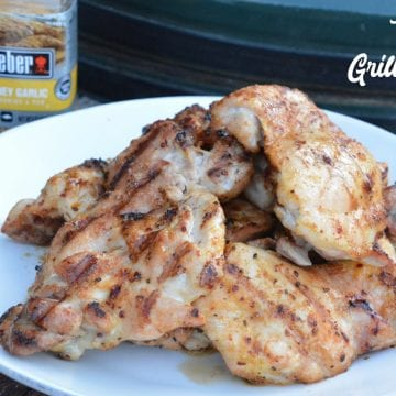 Grilled chicken no longer has to be dry and tough with this simple method for how to make the best grilled chicken recipe with boneless, skinless chicken thighs and honey garlic seasoning.