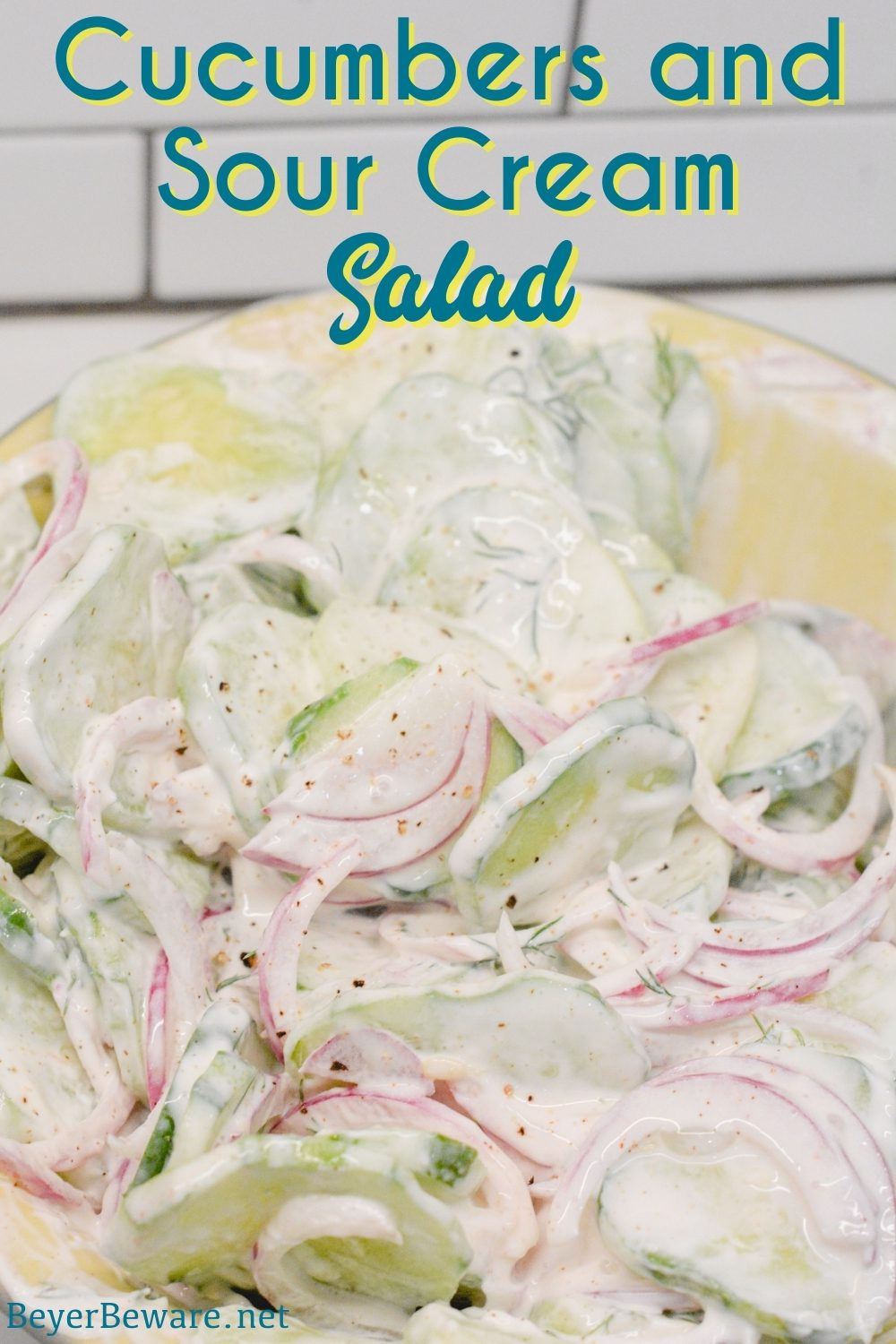 Cucumbers and sour cream salad is a creamy cucumber salad that is tangy with a hint of spice from the combination of cucumbers, onions, sour cream, hot sauce, dill weed, and vinegar.