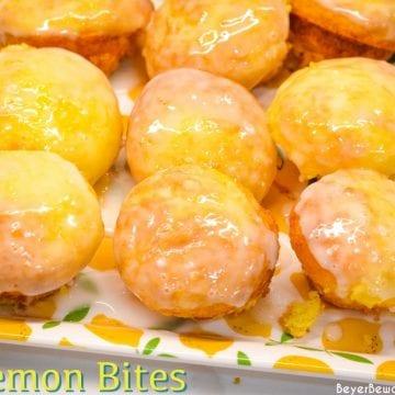 Lemon Blossoms or lemon bites are mini lemon cupcakes that start with a lemon cake mix and vanilla pudding mix and topped with a lemon glaze.