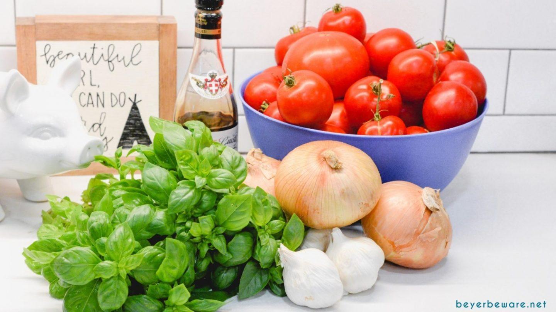 Homemade Tomato Basil Sauce Ingredients