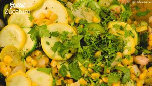 Skillet zucchini and summer squash recipe with corn and mushrooms is a quick sauteed squash recipe that comes together with lots of flavors thanks to onions, garlic, and fresh herbs.